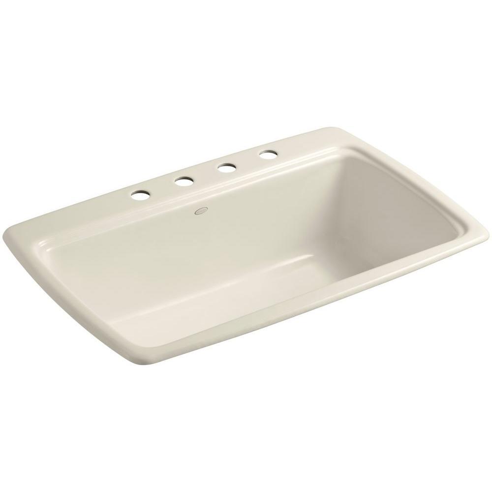 Kohler Cape Dory Drop In Cast Iron 33 In 4 Hole Single Bowl Kitchen Sink In Almond K 5863 4 47