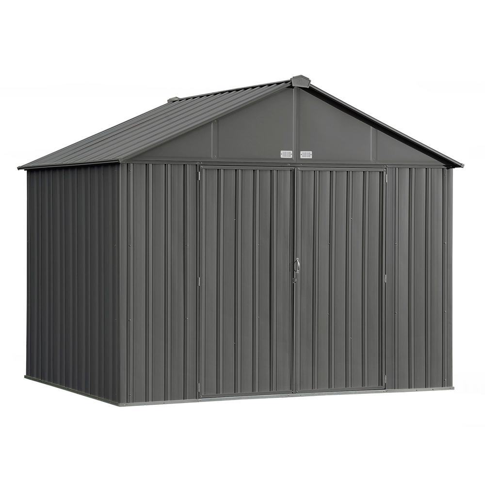 Arrow 10 ft. W x 8 ft. H x 8 ft. D EZEE Extra-High Gable Shed in Charcoal with Snap-IT Quick Assembly and Swing Door Design