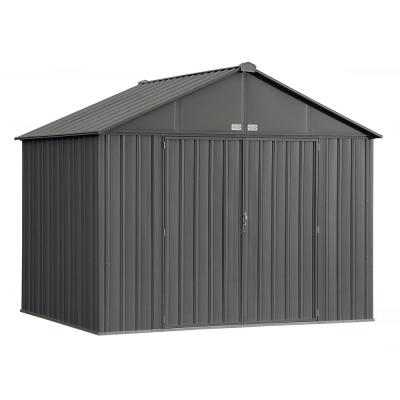 10 ft. W x 8 ft. H x 8 ft. D EZEE Extra-High Gable Shed in Charcoal with Snap-IT Quick Assembly and Swing Door Design