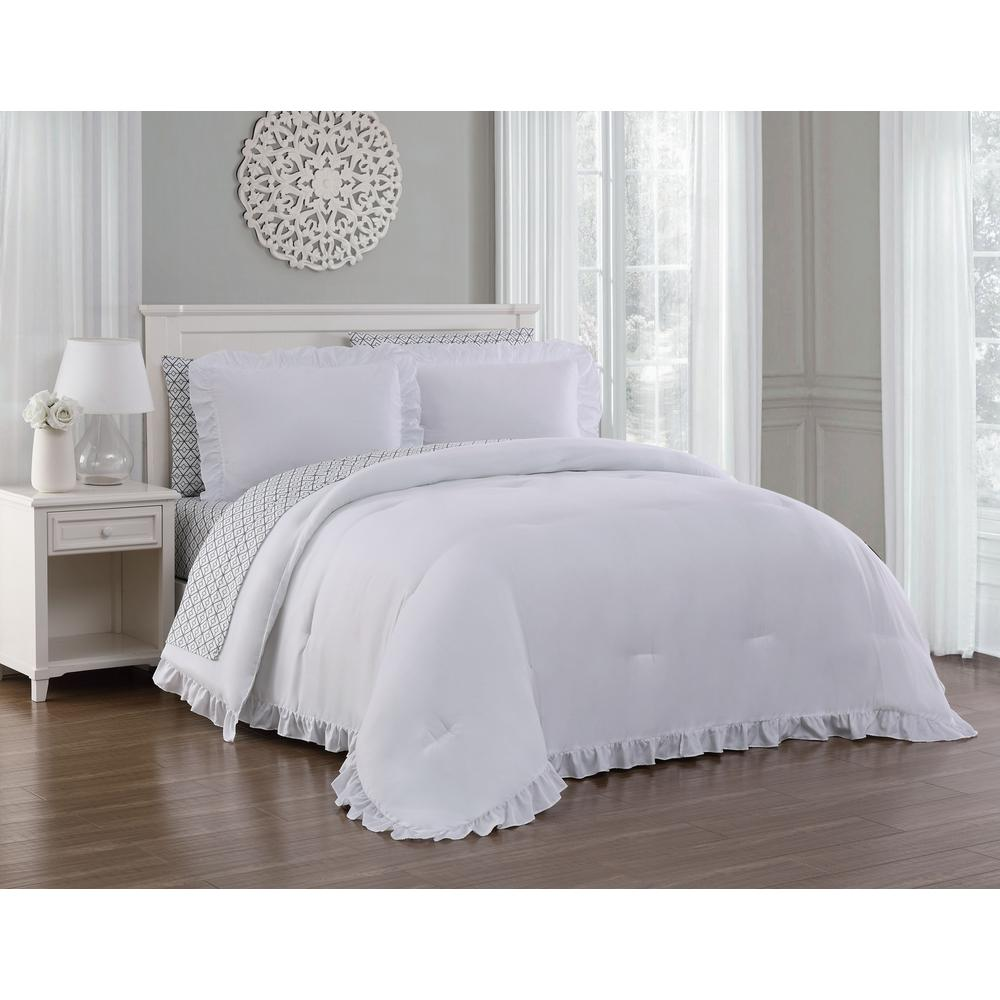 Melody 7 piece white king bed in a bag set