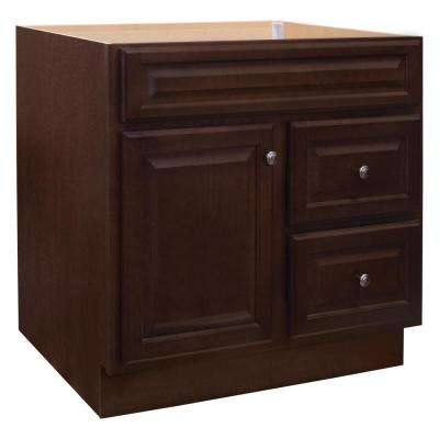 Hampton 36 in. W x 21 in. D x 33.5 in. H Bathroom Vanity Cabinet Only in Cognac