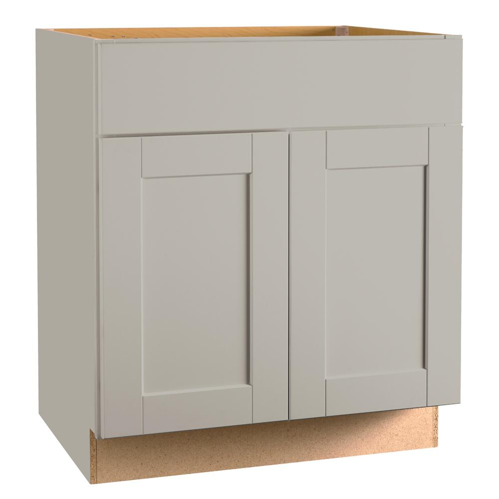 Hampton Bay Shaker Assembled 30x34.5x24 in. Base Kitchen Cabinet with Ball-Bearing Drawer Glides in Dove Gray