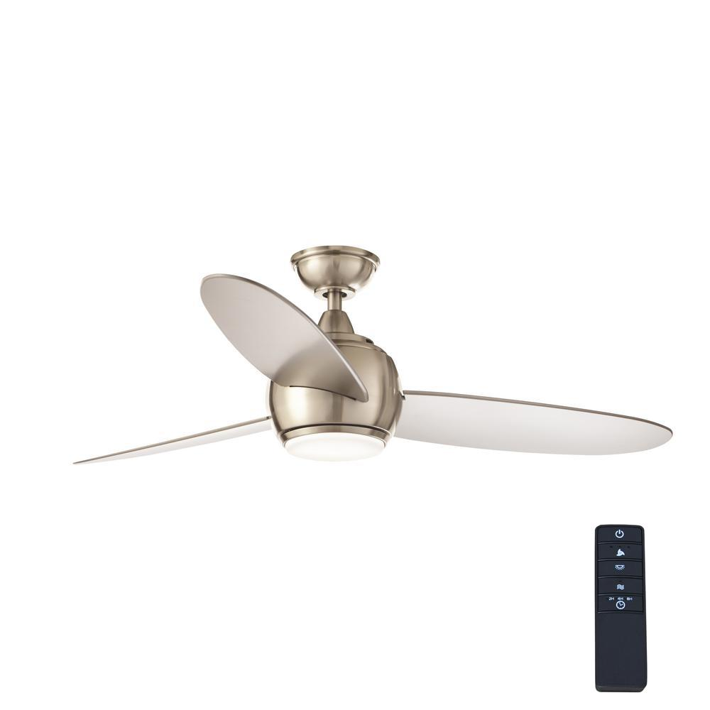 Home Decorators Collection Hedley 54 In Integrated Led Indoor Brushed Nickel Ceiling Fan With