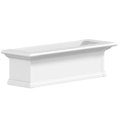 36 in. x 12 in. White Plastic Self-Watering Window Box