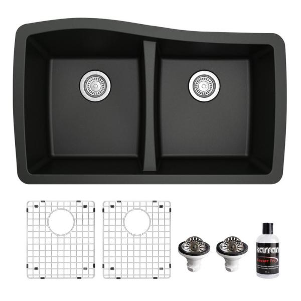 QU-720 Quartz/Granite Composite 32 in. Double Bowl 60/40 Undermount Kitchen Sink with Grids & Basket Strainers in Black