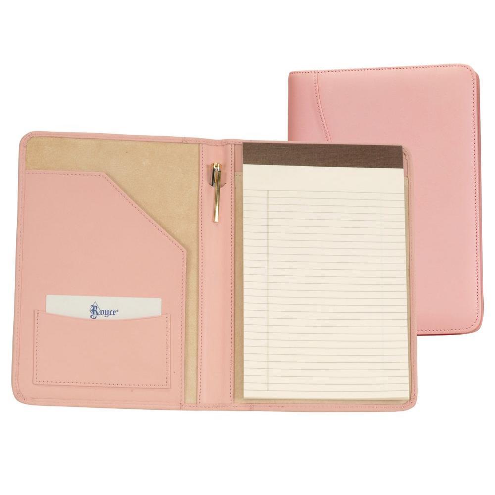 Genuine Leather Compact Writing Portfolio Organizer, Carnation Pink