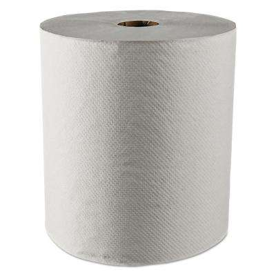 """Essential 100% Recycled Fiber Hard Roll Towels White 8"""" x 800ft (12 Rolls per Carton)"""