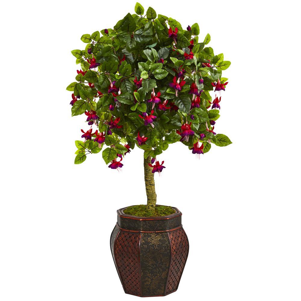 44 in. High Indoor Fuschia Artificial Tree in Decorative Planter