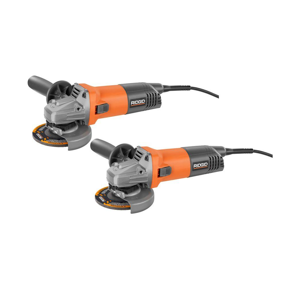 RIDGID 8 Amp Corded 4-1/2 in. Angle Grinder (2-Pack)