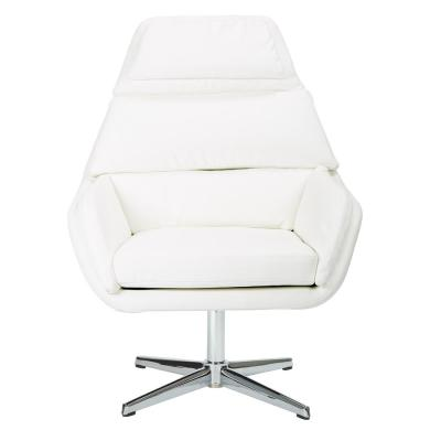 Guest White Faux Leather Chair with Chrome Base