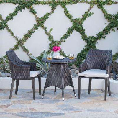 Ansley 3-Piece Wicker Patio Conversation Set with Light Brown Cushions
