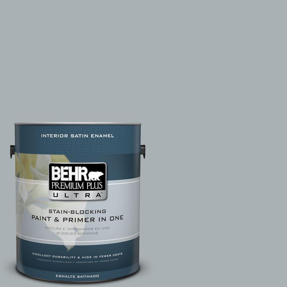 BEHR Premium Plus Ultra 1-gal. #730F-4 Flint Smoke Satin Enamel Interior Paint