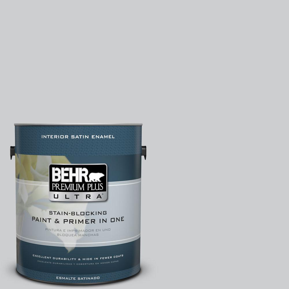 1 gal. #770E-2 Silver Screen Satin Enamel Interior Paint and Primer