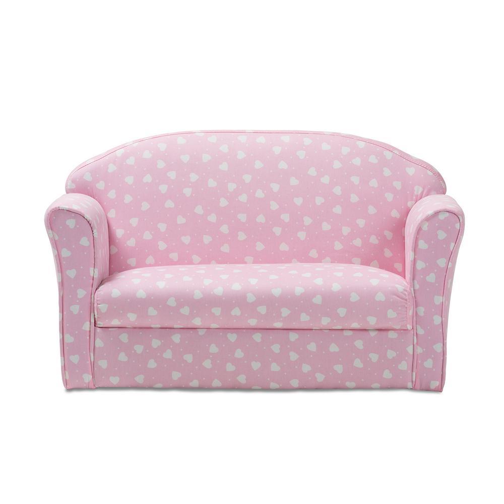 Fine Baxton Studio Erica Pink And White Heart Print Fabric Sofa Machost Co Dining Chair Design Ideas Machostcouk