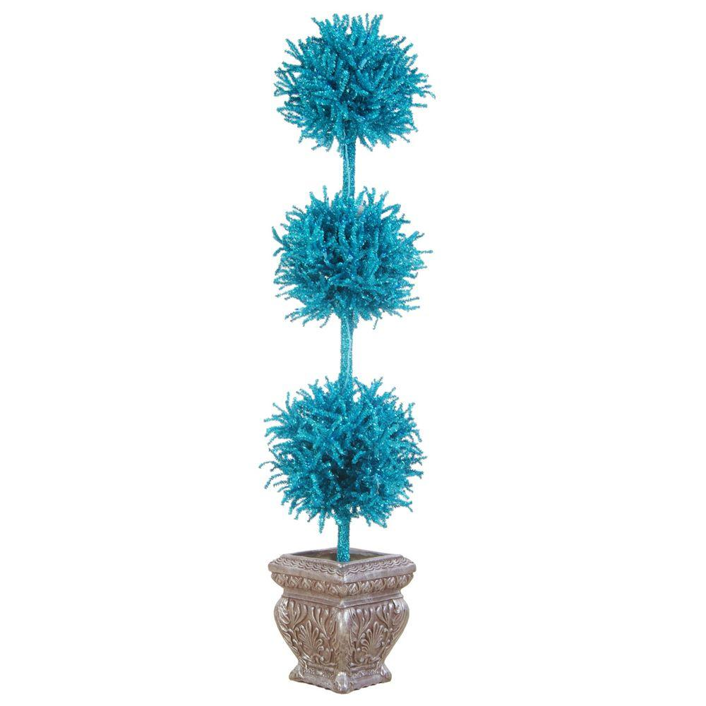 Sterling 5 ft. Artificial 3-Ball Blue Tinsel Topiary with Blue Lights