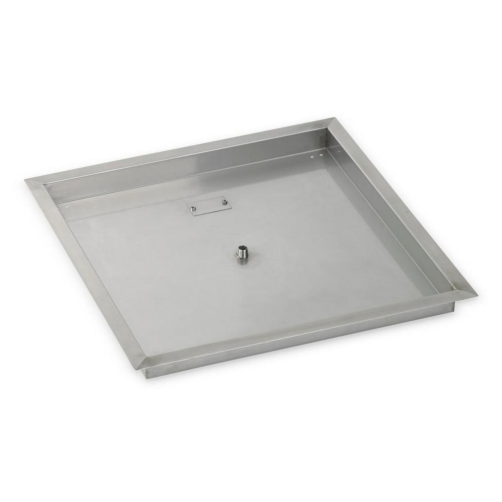 American Fire Glass 24 in. sq. Stainless Steel Drop-In Fire Pit Pan - American Fire Glass 24 In. Sq. Stainless Steel Drop-In Fire Pit Pan