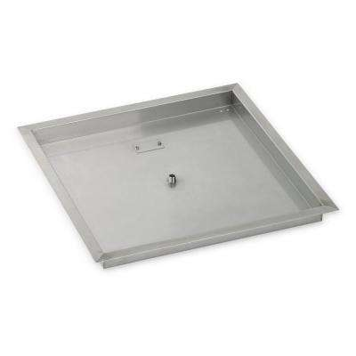 24 in. sq. Stainless Steel Drop-In Fire Pit Pan (1/2 in. Nipple)
