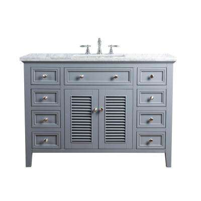 48 in. Genevieve Single Sink Vanity in Gray with Marble Vanity Top in Carrara with White Basin