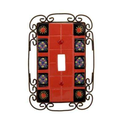 barcelona 1 toggle wall plate red