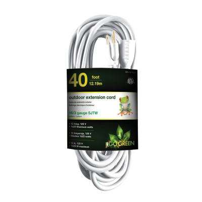 40 ft. 16/3 Heavy Duty Extension Cord, White
