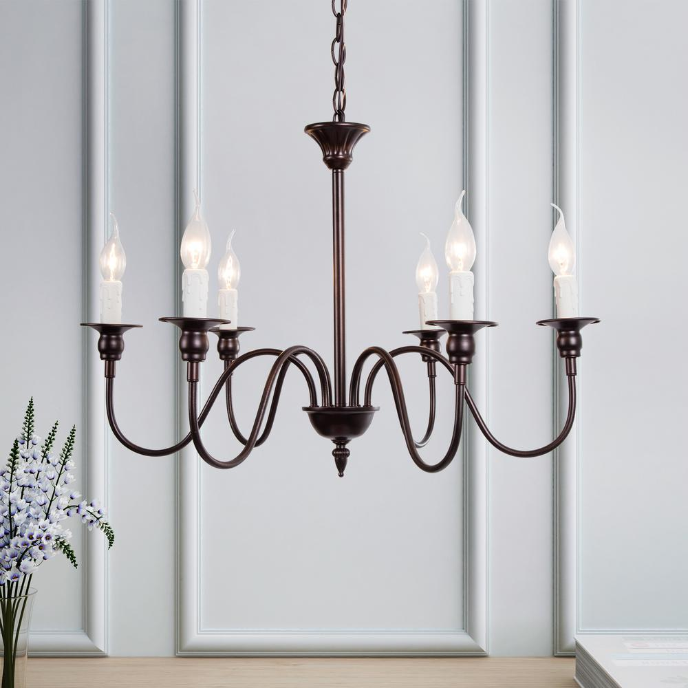 Lnc Aley 6 Light Rustic Bronze Chandelier In Classic Farmhouse Candle Style A02995 The Home Depot