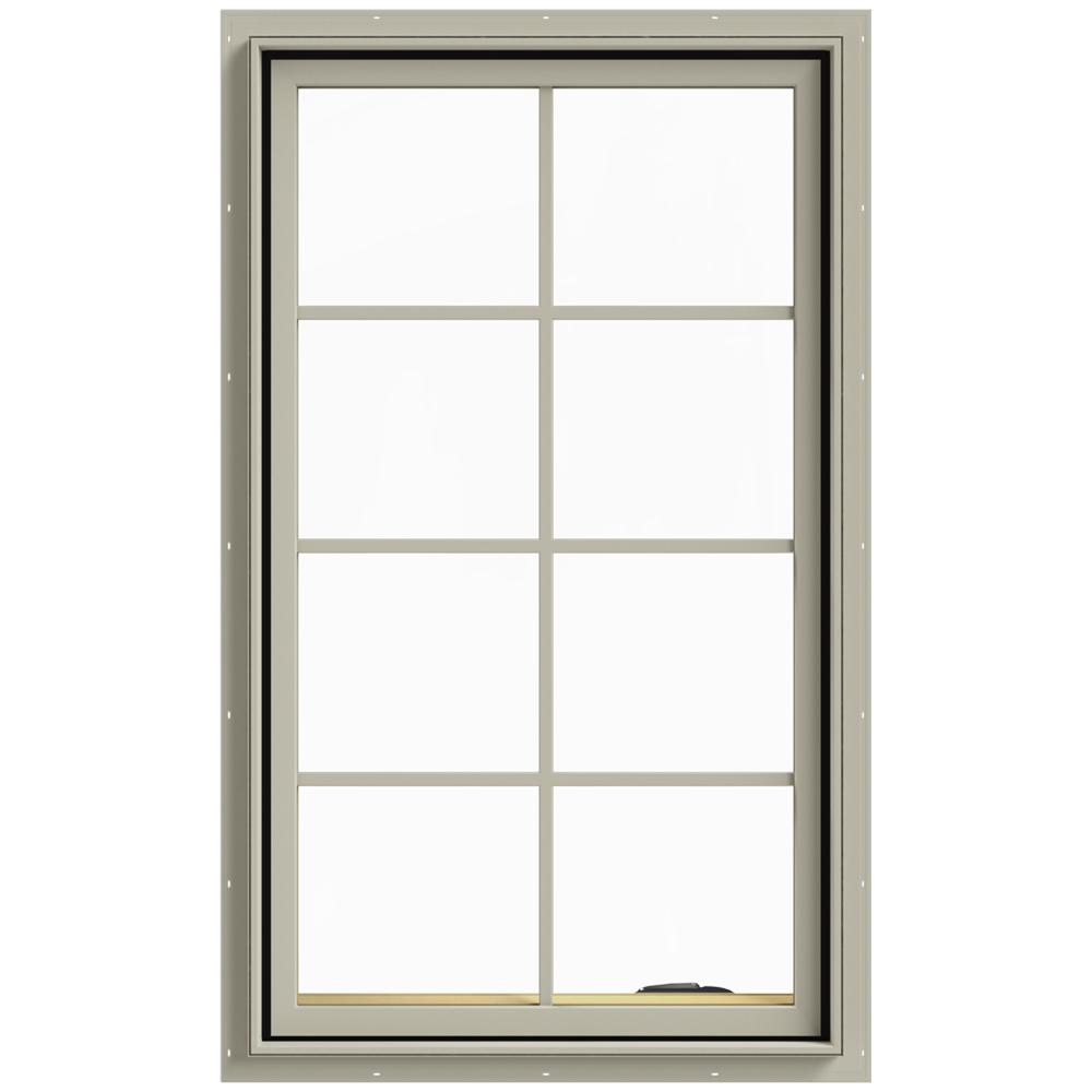 JELD-WEN 28 in. x 48 in. W-2500 Series Desert Sand Painted Clad Wood Right-Handed Casement Window with Colonial Grids/Grilles