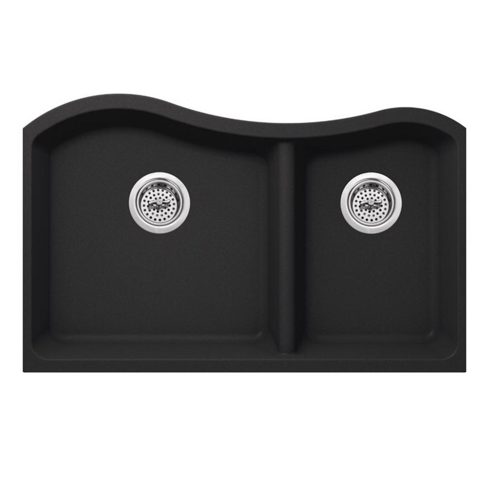 Undermount Quartz 32-1/2 in. 60/40 Double Kitchen Sink in Onyx Black