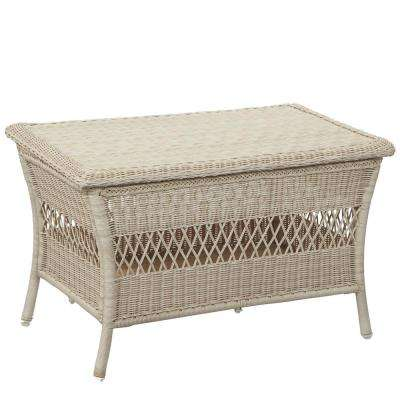Park Meadows Off-White Wicker Outdoor Trunk Table