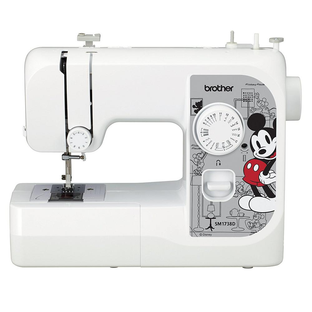 17-Stich Full Size Sewing Machine with Disney Interchangeable Faceplates, White Give your machine some character with this lightweight, full-size, Disney sewing machine. The SM1738D includes three interchangeable Disney Character faceplates with an additional Mickey faceplate already on the machine. Choose from classic Micket, flirty Minnie, cool Elsa or elegant Disney princess options and change them as you wish. This machine features 17 utility and decorative stitches and selecting your stitches is as easy as turning the dial. The tension control dial and reverse sewing lever give you added control at your fingertips. The four included sewing pressure feet allow you to easily insert zippers, create buttonholes, sew on buttons, and handle general sewing. Color: White.
