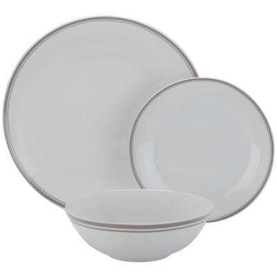 12-Piece Gray Coupe Dinnerware Set