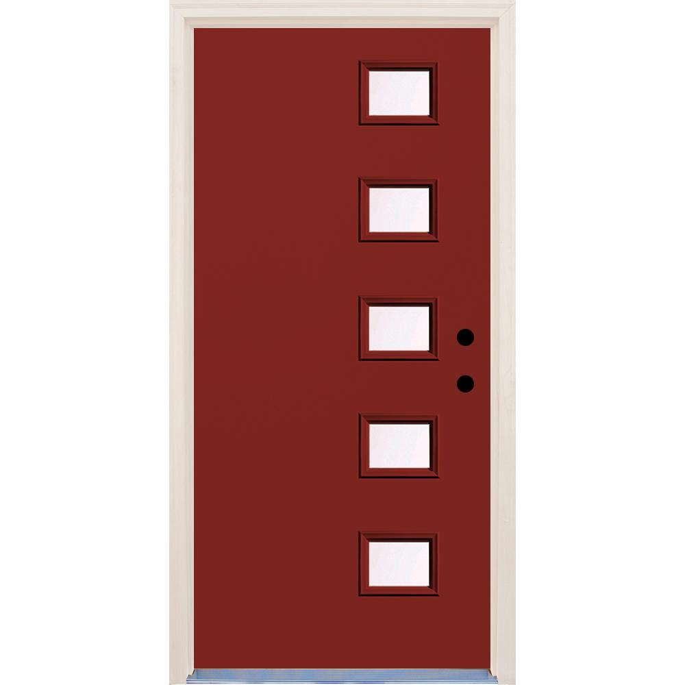 Builder's Choice 36 in. x 80 in. Cordovan 5 Lite Clear Glass Painted Fiberglass Prehung Front Door with Brickmould