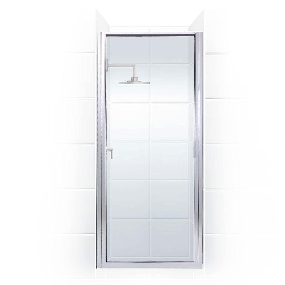 Coastal Shower Doors Paragon Series 25 in. x 82 in. Framed Continuous Hinged Shower Door in Chrome with Clear Glass