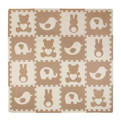 Teddy and Friends Multicolored 50 in. x 50 in. Residential Mat Set