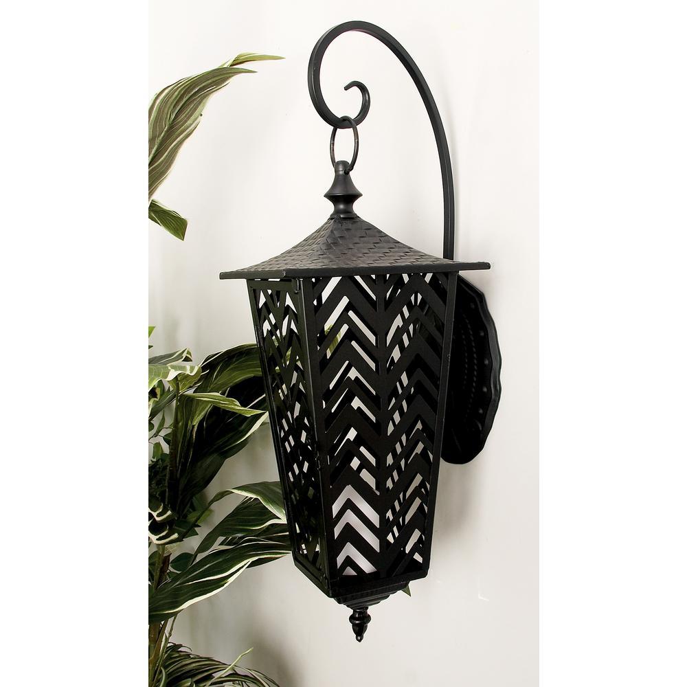 Litton Lane Black Candle Wall-Mounted Lantern 50350