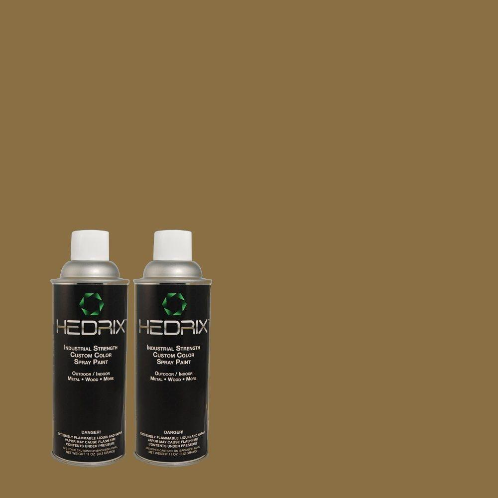 Hedrix 11 oz. Match of PPU8-1 Olive Flat Custom Spray Paint (2-Pack)