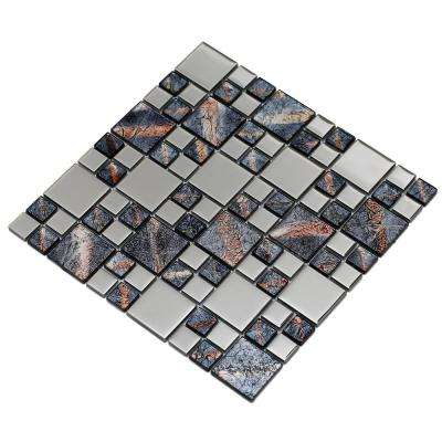 Rousha/Purple, 4 in. x 4 in. x 6 mm Glass Mesh-Mounted Mosaic Tile, Tile Sample