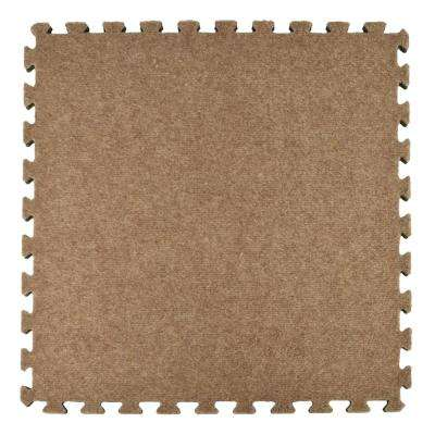 Royal Tan Carpet Velour Plush 10 ft. x 10 ft. x 5/8 in. Interlocking Carpet Tile 96.875 sq. ft. (25 piece Kit)