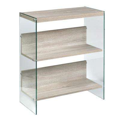 Light Oak Escher Skye Collection 3-Tier Bookshelf, Wood and Clear Glass