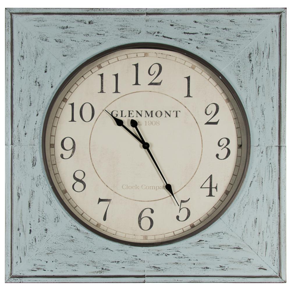 Pinnacle distressed 36 in x 36 in blue square metal wall clock pinnacle distressed 36 in x 36 in blue square metal wall clock amipublicfo Image collections