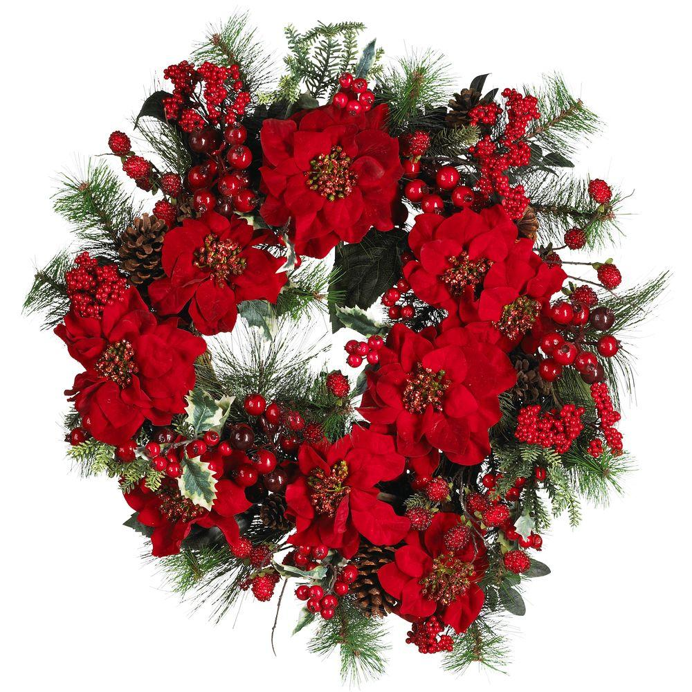 Nearly natural 24 in poinsettia wreath 4660 the home depot for 5ft poinsettia garland christmas decoration