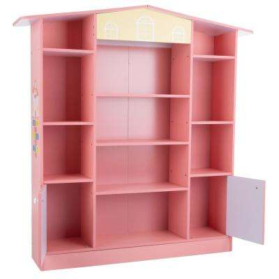 Cottage Design Dollhouse Shaped Bookcase in Pink