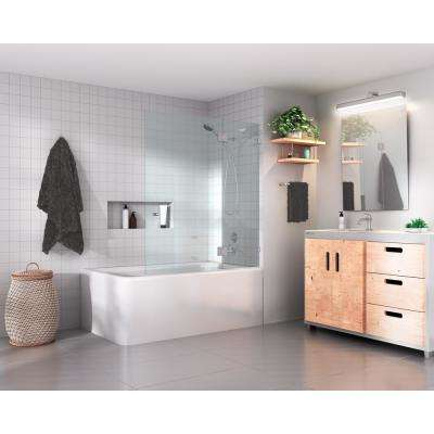 frameless glass hinged tub door in brushed nickel with handle