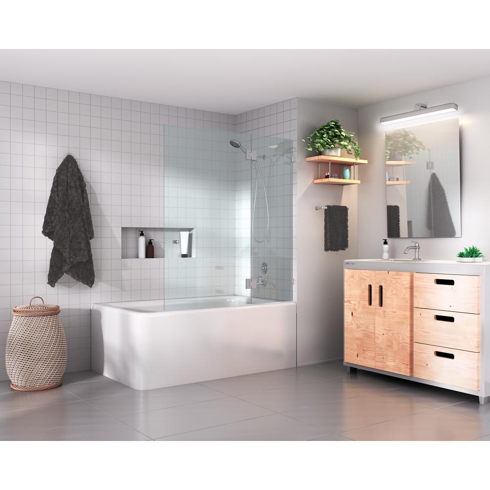 Glass Warehouse 58 in. x 48.5 in. Frameless Glass Hinged Tub Door in Brushed Nickel with Handle