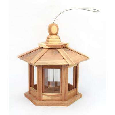 12 in. Red Cedar Wood Hexagonal Pavilion Bird Feeder
