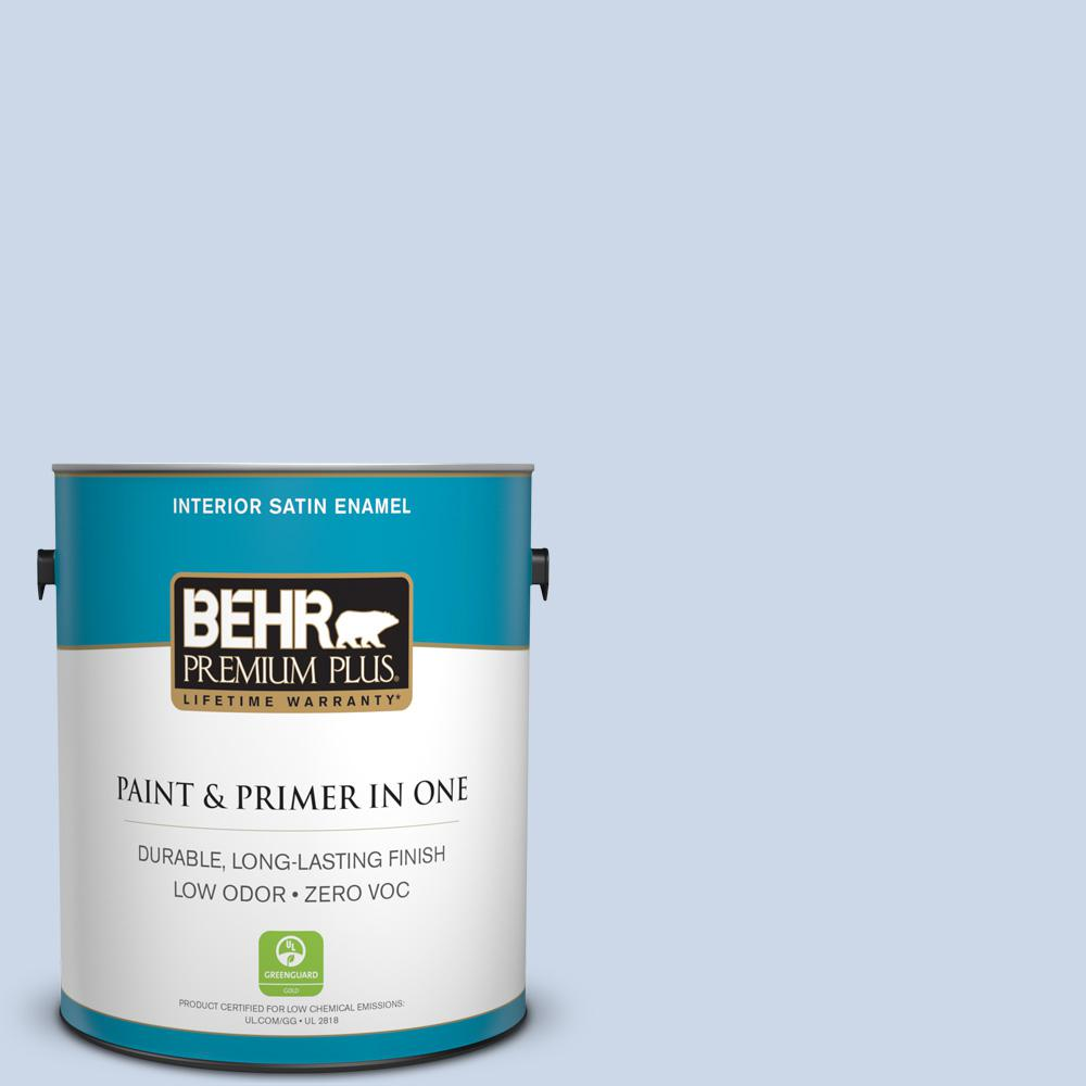 BEHR Premium Plus 1-gal. #590A-2 Monet Lily Zero VOC Satin Enamel Interior Paint