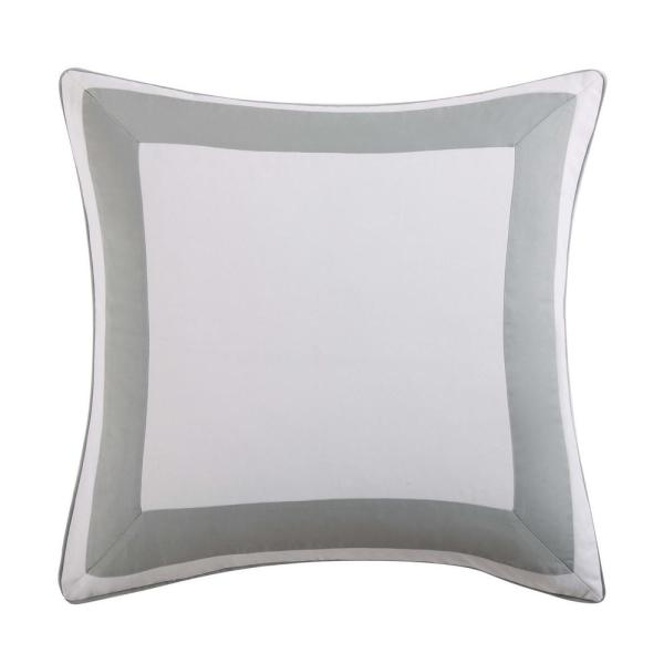 Tropical Plantation Grey and White Euro Pillow Cover