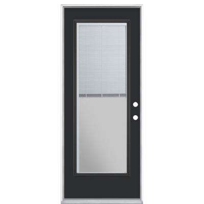 32 in. x 80 in. Full Lite Mini Blind Left Hand Inswing Painted Steel Prehung Front Exterior Door No Brickmold