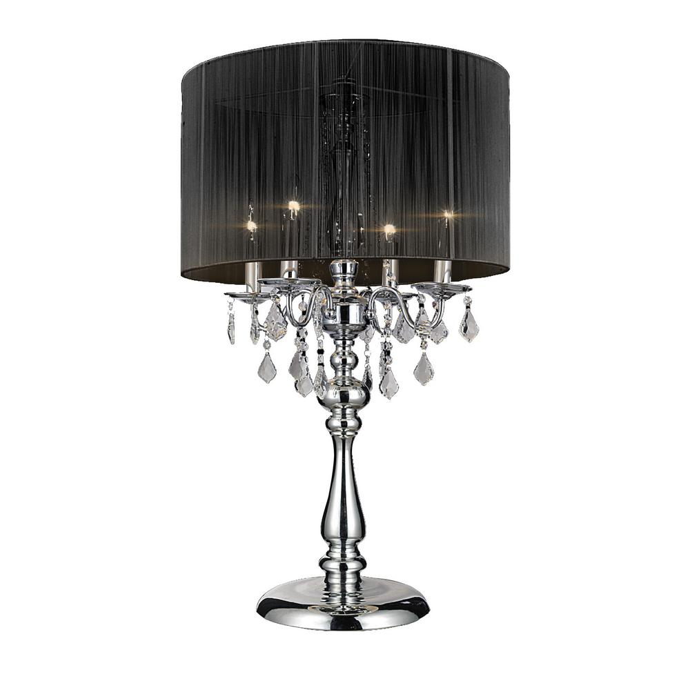 Crystal world sheer 32 in chrome table lamp with black shade chrome table lamp with black shade mozeypictures Images