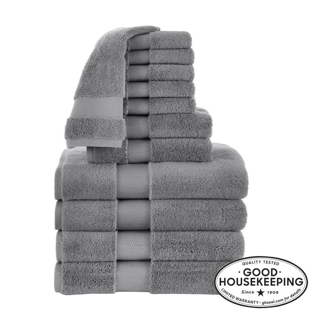 Plush Soft Cotton 12-Piece Towel Set in Stone Gray