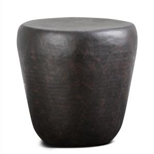 Garvy Contemporary Round 20 in. Wide Metal Accent Side Table in Rustic Bronze